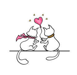 Cat gives a Cat a balloon in the form of  heart. Handmade drawing in doodle cartoon style with marker effect  in black pink on white. Concept Love story for congratulation of Valentines Day