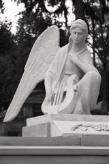 Spoed Foto op Canvas Monument Angel with a harp. A sculpture at the cemetery.
