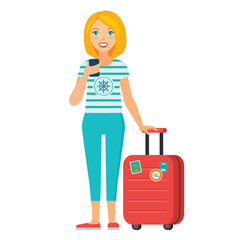 vector illustration of  tourist girl standing with luggage