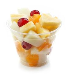 Poster Vruchten fresh fruit pieces salad in plastic cup