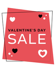 Geometric Valentine's Day sale sign. Letter size vector file. Valentines theme discount, markdown, advertising signage for business promotions. Sale graphic for displays, tags, flyers, website.