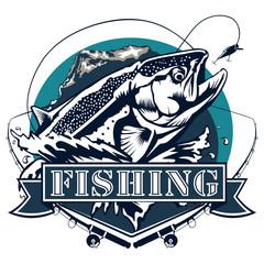 Salmon Fishing logo isolated on white