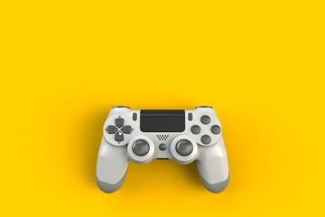 Computer game competition. Gaming concept. White joystick isolated on yellow background, 3D rendering