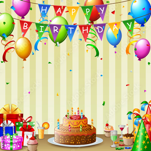 Birthday Background With Cake And Colorful Balloon