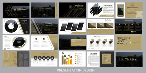 presentation template for promotion, advertising, flyer, brochure, product, report, banner, business, modern style on black and brown background. vector illustration Wall mural