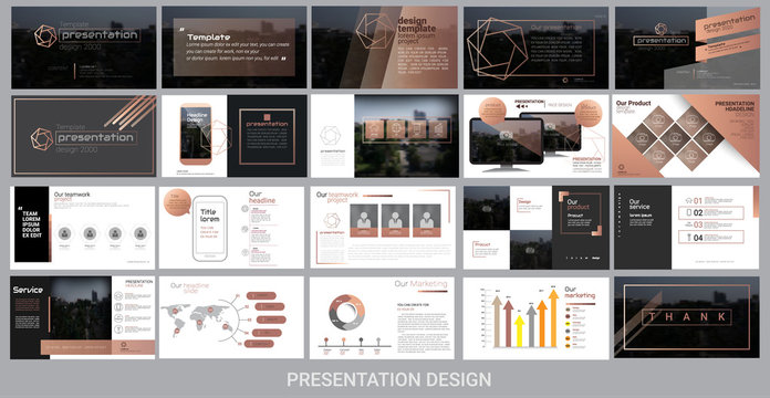 presentation template for promotion, advertising, flyer, brochure, product, report, banner, business, modern style on black and brown background. vector illustration