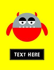 cute little monster greeting card vector