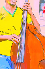 A merry musician sings and plays on a double bass