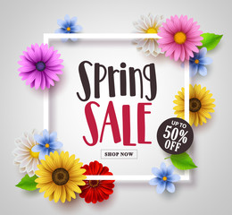 Spring sale vector banner design with colorful daisy, sunflower and floral elements and a frame in white background for spring seasonal discound promotion. Vector illustration.
