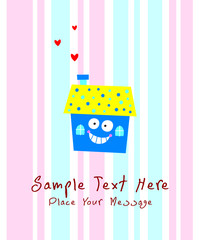 cute little happy house greeting card vector