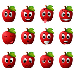 apple with different emoticons