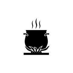 Cooking on fire vector icon