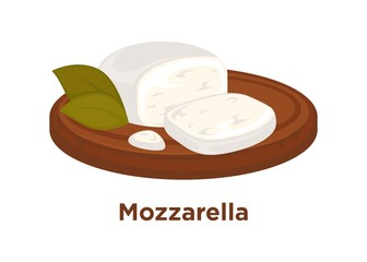 Tender mozzarella with laurel leaves on wooden tray