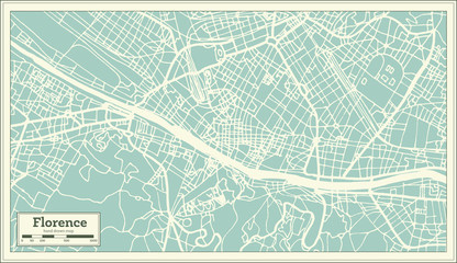 Florence Italy City Map in Retro Style. Outline Map.