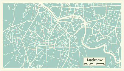 Lucknow India City Map in Retro Style. Outline Map.