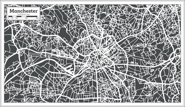 Manchester England City Map in Retro Style. Outline Map.