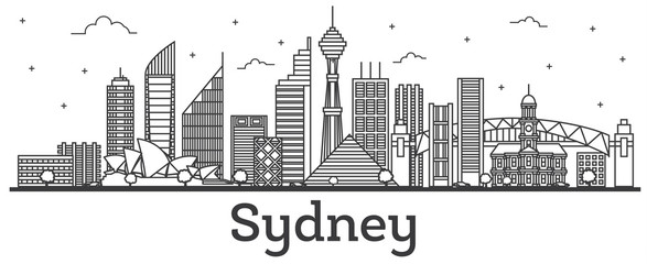 Outline Sydney Australia City Skyline with Modern Buildings Isolated on White.