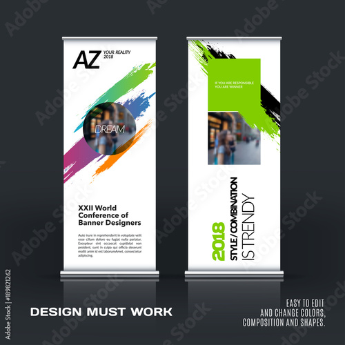Business Vector Set Of Modern Roll Up Banner Stand Design With Cool Artistic Displays Banner Stands