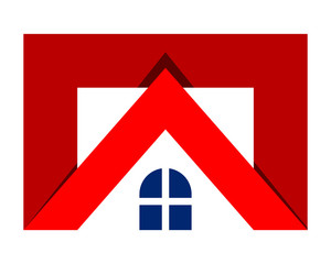 red roof residence residential home house housing image vector icon logo