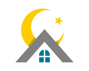 moon star roof residence residential home house housing image vector icon logo