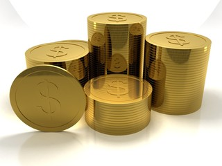 3d rendering Gold coins
