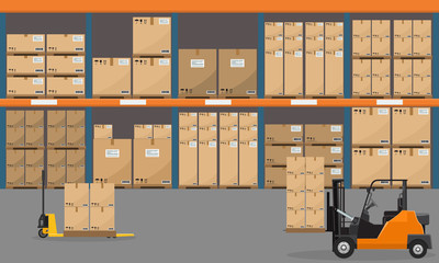 Warehouse interior with goods, pallet trucks and container package boxes. Flat vector