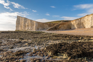 The cliffs and beach of Hope Gap near Seaford, East Sussex, UK