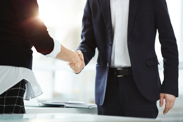Handshake of successful business partners after negotiation and signing new contract