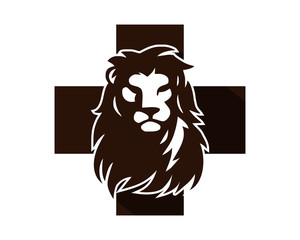 cross lion head face icon image vector logo