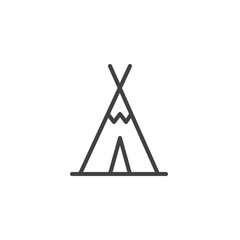 Wigwam line icon, outline vector sign, linear style pictogram isolated on white. Tourist tent shelter symbol, logo illustration. Editable stroke