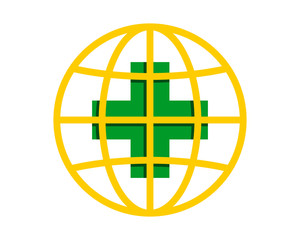 medical medicare clinic pharmacy globe image vector icon logo