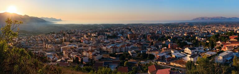 Evening Alcamo town and sea bay, Sicily, Italy