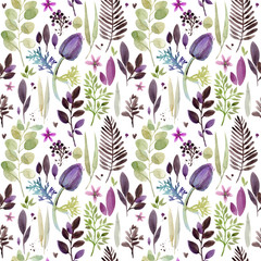 watercolor violet flowers seamless pattern. hand-drawn botanical illustration. vintage floral composition.