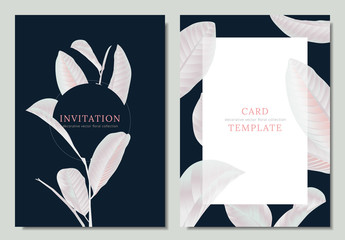 Hand drawn Tropical white guava leaves on dark blue background, invitation card template design