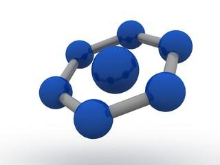 3d illustration of molecule model. Science background with molecule