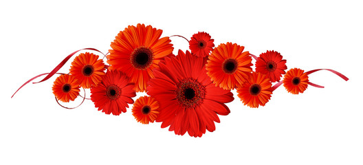 Red gerbera flowers and ribbons in a line composition