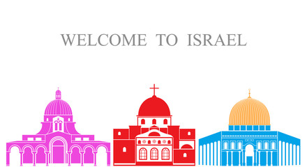 Israel set. Isolated Israel architecture on white background