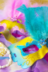 carnival mask on colorful background, carnival concept