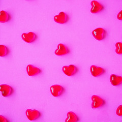 Valentines day background with heart shape candy