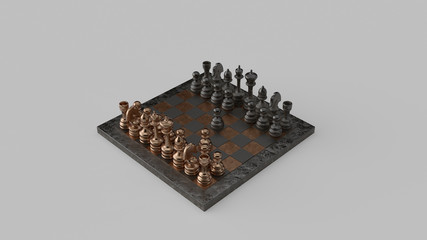 Fool's Mate Move 02 Checkmate Brass and Iron Chessboard and Pieces Two-Move Checkmate 3d illustration