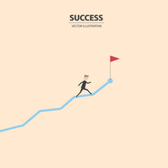 Businessman running on the graph to get the flag of success. Flat design concept of business success, ambition and vision. Vector illustration.