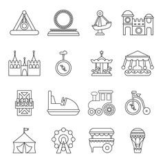 Amusement park icons set, outline style