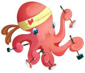Octopus greedy Sushi Chef. raster illustration on white background