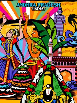 Colorful culutral display of State Andhra Pradesh in India