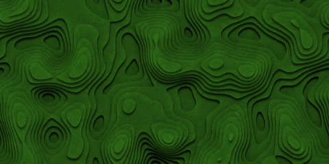 Green Seamless Topographic Landscape Background. Wavy Relief Illustration Texture. Wall mural