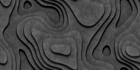 Gray Seamless Topographic Landscape Background. Wavy Relief Illustration Texture. Wall mural