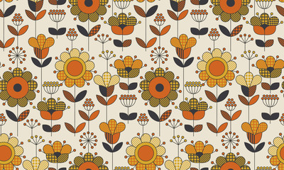 Simple geometric floral seamless pattern. Retro 60s sunflowers motif in fall orange and yellow colors. Decorative flower vector illustration.