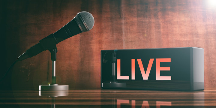 LIVE on a black box and a microphone on a wooden desk. 3d illustration