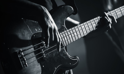 Electric bass guitar black and white photo