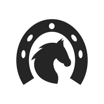 Horse head and horseshoe icon